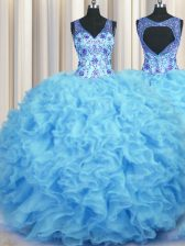 Fantastic V Neck Sleeveless Zipper Floor Length Beading and Appliques and Ruffles Quinceanera Gowns