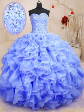 Ball Gowns Quinceanera Gown Lavender Sweetheart Organza Sleeveless Floor Length Lace Up