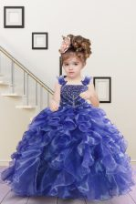 Classical Navy Blue Organza Lace Up Straps Sleeveless Floor Length Little Girls Pageant Dress Wholesale Beading and Ruffles