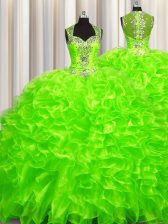 Pick Ups Zipper Up See Through Back Organza Sleeveless With Train Quinceanera Dresses Brush Train and Beading