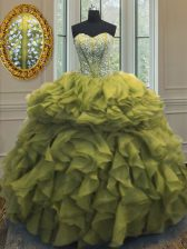 Low Price Olive Green Ball Gowns Beading and Ruffles 15th Birthday Dress Lace Up Organza Sleeveless Floor Length