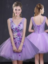 Lavender Lace Up Lace and Appliques Prom Dress Organza Sleeveless