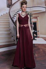 Burgundy Column/Sheath Chiffon Straps Sleeveless Beading and Ruching Floor Length Zipper Prom Party Dress