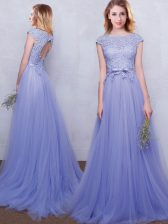 Brush Train Empire Vestidos de Damas Lavender Scoop Tulle Cap Sleeves With Train Backless