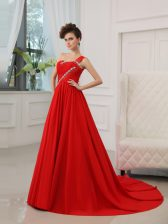 Custom Made One Shoulder Sleeveless Court Train Zipper Prom Dress Red Silk Like Satin