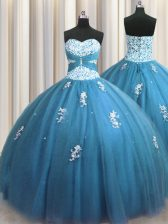Teal Lace Up Sweetheart Beading and Appliques Sweet 16 Quinceanera Dress Tulle Sleeveless
