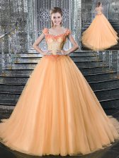 Excellent Orange Lace Up Straps Beading and Appliques Sweet 16 Dress Tulle Sleeveless Brush Train