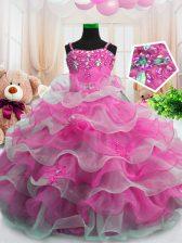 Cheap Beading and Ruffled Layers Little Girls Pageant Dress Wholesale Hot Pink Zipper Sleeveless Floor Length