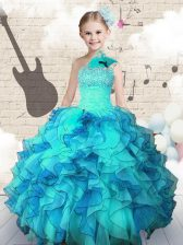 Organza One Shoulder Sleeveless Lace Up Beading and Ruffles Little Girls Pageant Gowns in Aqua Blue