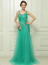 Turquoise Column/Sheath Straps Sleeveless Organza With Brush Train Side Zipper Beading and Ruching Prom Gown