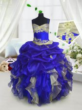 Popular Royal Blue Organza Lace Up Spaghetti Straps Sleeveless Floor Length Little Girl Pageant Dress Beading and Ruffles and Pick Ups