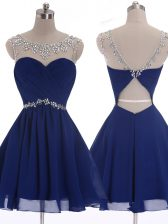 New Arrival Navy Blue A-line Scoop Sleeveless Chiffon Mini Length Criss Cross Beading Prom Evening Gown