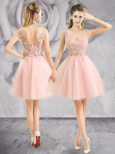 Custom Made Baby Pink Tulle Zipper Prom Gown Sleeveless Mini Length Appliques