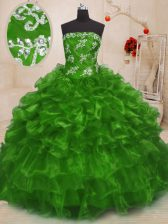 Unique Ball Gowns Beading and Appliques Sweet 16 Quinceanera Dress Lace Up Organza Sleeveless Floor Length