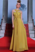 Scalloped Gold Clasp Handle Homecoming Dress Appliques and Ruching Sleeveless Floor Length