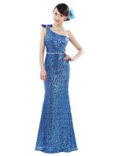 On Sale Sequins Floor Length Blue Prom Gown One Shoulder Sleeveless Zipper