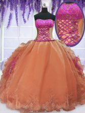 Excellent Sleeveless Organza Floor Length Lace Up Sweet 16 Dress in Orange with Embroidery and Ruffles