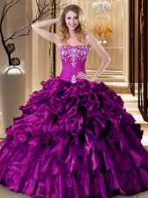 Beautiful Sweetheart Sleeveless Lace Up Quinceanera Dresses Purple Organza