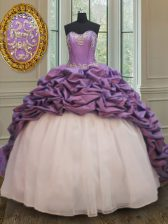 Elegant White And Purple Organza and Taffeta Lace Up Sweetheart Sleeveless With Train Sweet 16 Dresses Court Train Beading and Pick Ups