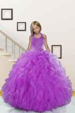Dramatic Halter Top Beading and Ruffles Kids Pageant Dress Purple Lace Up Sleeveless Floor Length
