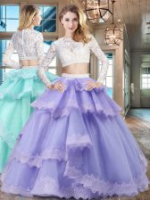 Lace Ruffled Floor Length Lavender Quince Ball Gowns Scoop Long Sleeves Zipper