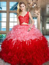 Sleeveless Lace and Ruffles Zipper 15th Birthday Dress