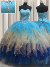 Fantastic Sweetheart Sleeveless Ball Gown Prom Dress Floor Length Beading and Ruffles Multi-color Tulle