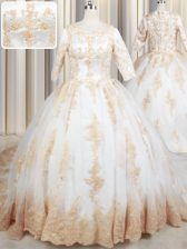 Fashion Scoop White Tulle Zipper Quinceanera Dress Half Sleeves Court Train Beading and Lace and Appliques