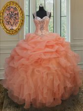 Straps Sleeveless Quinceanera Dress Floor Length Beading and Ruffles and Pick Ups Orange Organza