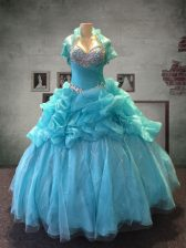 Floor Length Lace Up Quinceanera Gowns Aqua Blue for Military Ball and Sweet 16 and Quinceanera with Beading and Pick Ups