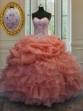 Edgy Orange Red Lace Up Sweet 16 Quinceanera Dress Beading and Pick Ups Sleeveless Floor Length