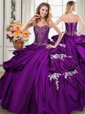Sweetheart Sleeveless Taffeta Ball Gown Prom Dress Beading and Appliques and Pick Ups Lace Up