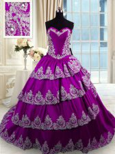 Sophisticated Eggplant Purple Ball Gowns Sweetheart Sleeveless Taffeta With Train Lace Up Beading and Appliques and Ruffled Layers Vestidos de Quinceanera