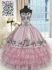 Super Pink Sweetheart Lace Up Beading and Embroidery and Ruffled Layers Sweet 16 Dress Sleeveless