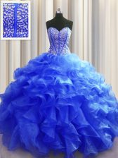 Clearance Visible Boning Floor Length Lace Up Ball Gown Prom Dress Royal Blue for Military Ball and Sweet 16 and Quinceanera with Beading and Ruffles
