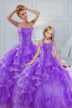 Lavender Ball Gowns Beading and Ruffled Layers Quinceanera Dresses Lace Up Organza Sleeveless Floor Length