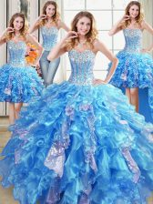 Four Piece Baby Blue Ball Gowns Beading and Ruffles and Sequins Quinceanera Gown Lace Up Organza Sleeveless Floor Length
