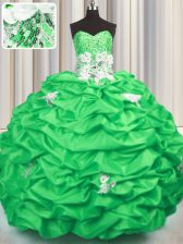 Sleeveless Brush Train Appliques and Sequins and Pick Ups With Train Quinceanera Gowns