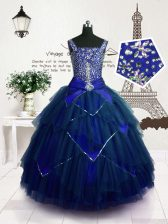 Tulle Straps Sleeveless Lace Up Beading and Belt Child Pageant Dress in Royal Blue