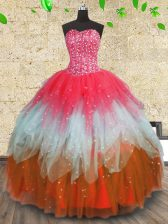 Floor Length Multi-color Sweet 16 Dress Tulle Sleeveless Beading and Ruffles and Ruffled Layers