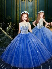 Best Blue Scoop Neckline Appliques Pageant Gowns For Girls Sleeveless Clasp Handle