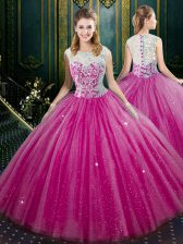 Fuchsia High-neck Zipper Lace Sweet 16 Dresses Sleeveless