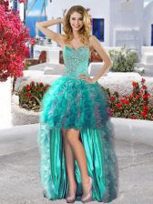 Beading and Ruffles Prom Dress Turquoise Lace Up Sleeveless High Low