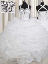 Eye-catching White Organza Lace Up Straps Sleeveless Floor Length Quinceanera Gowns Beading and Pick Ups