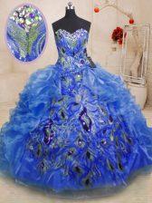Beauteous Floor Length Blue Quinceanera Dresses Sweetheart Sleeveless Zipper