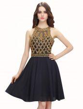 Fantastic Scoop Black Sleeveless Mini Length Beading Zipper Prom Dress