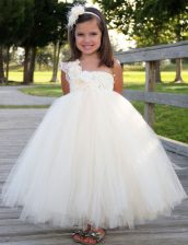 White Tulle Zipper One Shoulder Sleeveless Ankle Length Flower Girl Dress Hand Made Flower