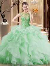 Exceptional Brush Train Ball Gowns Vestidos de Quinceanera Apple Green Scoop Tulle Sleeveless Lace Up