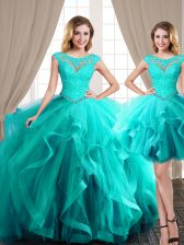 Exquisite Three Piece Scoop Aqua Blue Ball Gowns Beading and Appliques and Ruffles Quinceanera Gown Lace Up Tulle Cap Sleeves Floor Length
