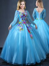 Nice Tulle Long Sleeves Floor Length Vestidos de Quinceanera and Appliques
